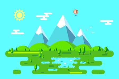 Summer landscape with hills, mountains and trees. Hello summer concept. Flat style illustration. Ilustração
