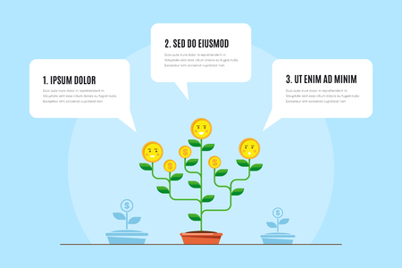Infographic template with money tree. Investment, money growth concept. Flat style illustration. Banco de Imagens - 120618759