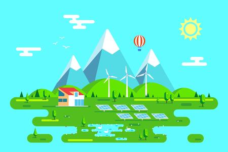 Summer landscape with eco friendly house. Solar panels and wind turbines. Flat style illustration. Renewable energy concept. Banco de Imagens - 120618760