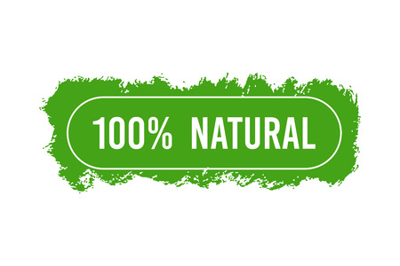 Natural Organic product. Flat style design of packaging seal, sticker or icon isolated on white background Banco de Imagens - 120618761