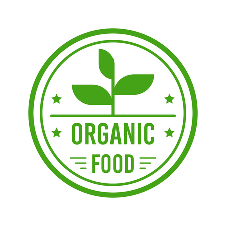 Natural Organic product. Flat style design of packaging seal, sticker or icon isolated on white background Banco de Imagens - 120618763