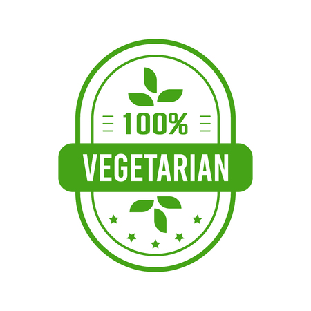 Vegetarian food label design. Flat style design of packaging seal, sticker or icon isolated on white background Banco de Imagens - 120618764