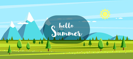 Summer landscape with hills, mountains and trees. Hello summer concept. Flat style illustration. Banco de Imagens - 120906833