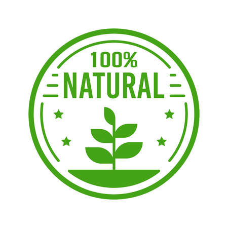 Natural Organic product. Flat style design of packaging seal, sticker or icon isolated on white background Banco de Imagens - 120906834