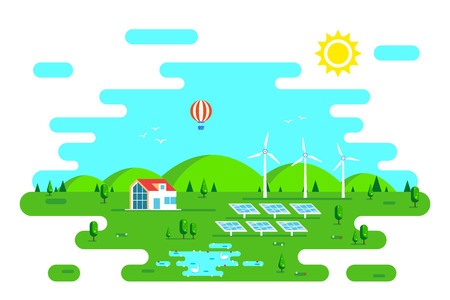 Summer landscape with eco friendly house. Solar panels and wind turbines. Flat style illustration. Renewable energy concept.