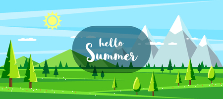 Summer landscape with hills, mountains and trees. Hello summer concept. Flat style illustration. Ilustrace