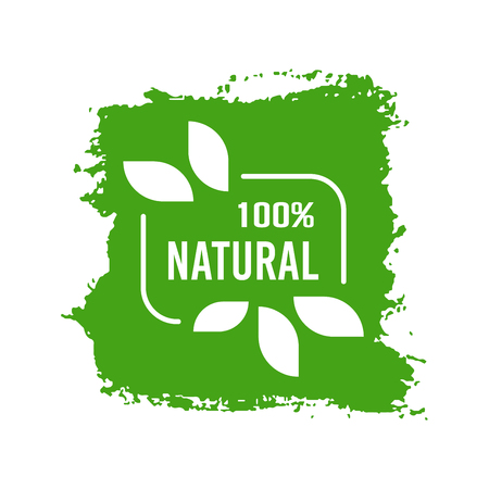 Natural Organic product. Flat style design of packaging seal, sticker or icon isolated on white background Banco de Imagens - 120906838