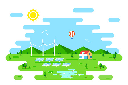 Summer landscape with eco friendly house. Solar panels and wind turbines. Flat style illustration. Renewable energy concept. Banco de Imagens - 120906839