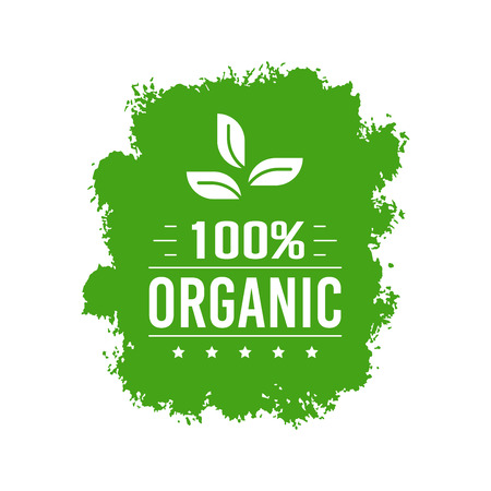 Natural Organic product. Flat style design of packaging seal, sticker or icon isolated on white background Banco de Imagens - 120906840