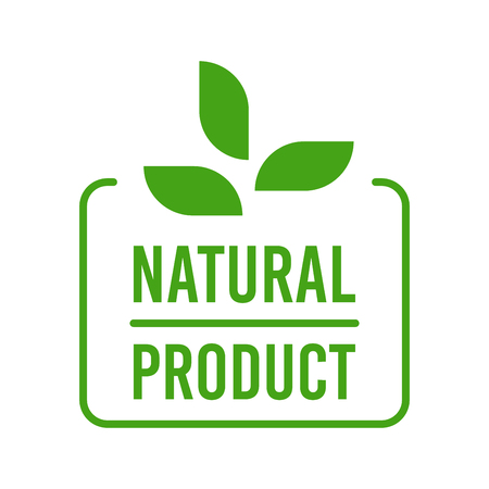 Natural Organic product. Flat style design of packaging seal, sticker or icon isolated on white background Banco de Imagens - 120906842