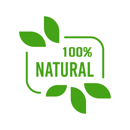 Natural Organic product. Flat style design of packaging seal, sticker or icon isolated on white background Banco de Imagens - 120906845
