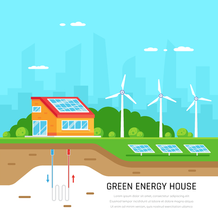 Ecofriendly family house. Green energy. Solar, wind and geothermal power. Flat style illustration. Renewable energy concept. Banco de Imagens - 120906847