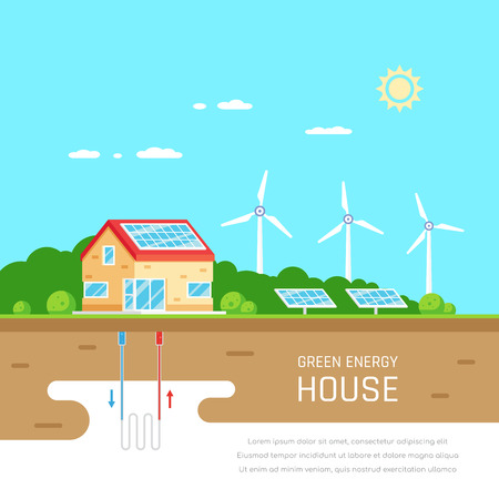 Ecofriendly family house. Green energy. Solar, wind and geothermal power. Flat style illustration. Renewable energy concept. Banco de Imagens - 120906848