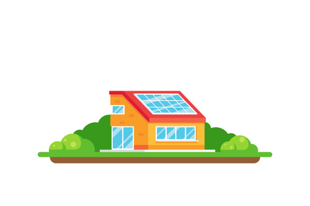 Eco friendly house. Green energy concept. Picture of a house with solar panel on the roof isolated on white background. Flat style illustration. 向量圖像