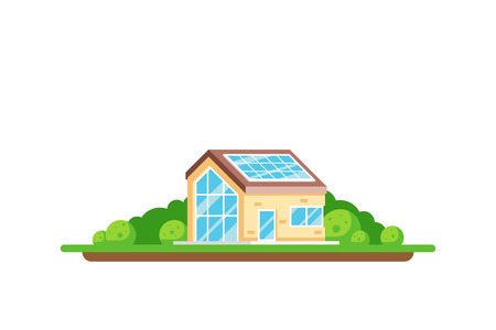 Eco friendly house. Green energy concept. Picture of a house with solar panel on the roof isolated on white background. Flat style illustration. Archivio Fotografico - 120906850