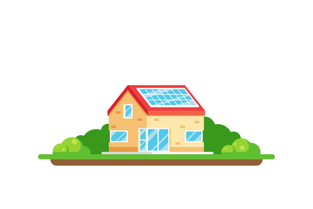 Eco friendly house. Green energy concept. Picture of a house with solar panel on the roof isolated on white background. Flat style illustration. Banco de Imagens - 120906851