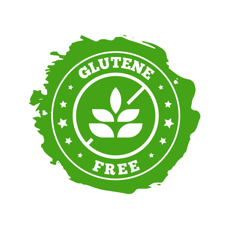 Glutene free product badge design. Flat style design of packaging seal, sticker or icon isolated on white background. Banco de Imagens - 120906852