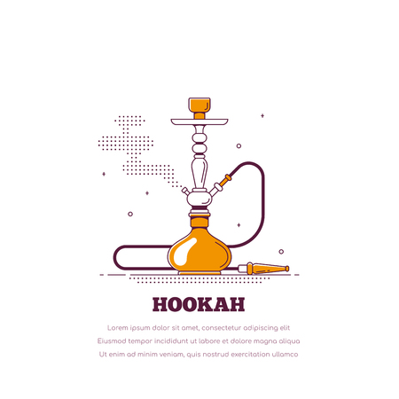 Smoking hookah concept. Shisha banner. Smoke pipe and relaxation. Flat style line art lounge bar and menu hookah illustration Banco de Imagens - 121031485