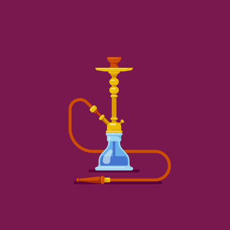Smoking hookah concept. Flat style Shisha icon. Smoke pipe and relaxation.