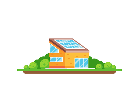 Eco friendly house. Green energy concept. Picture of a house with solar panel on the roof isolated on white background. Flat style illustration. Archivio Fotografico - 121031490