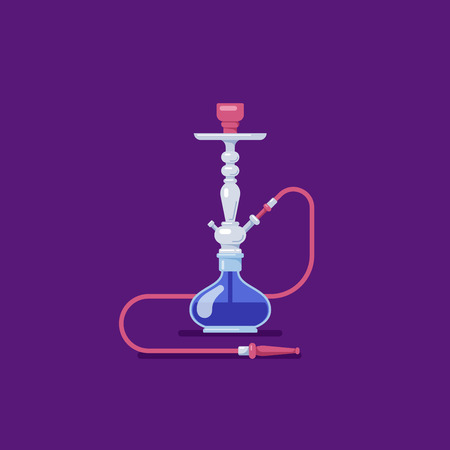 Smoking hookah concept. Flat style Shisha icon. Smoke pipe and relaxation. Banco de Imagens - 121031491