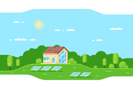 Lanscape with modern family house and solar panels. Flat style concept banner of eco home, renewable energy, ecology. Banco de Imagens - 121031494