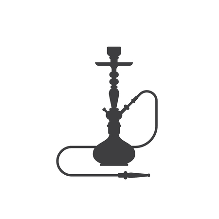 Sisha icon isolated on white background. Hookah black and white flat style sillhouette illustration. Banco de Imagens - 121218707