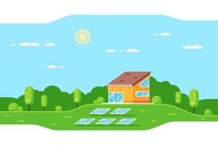 Paysage avec maison familiale moderne et panneaux solaires. Bannière de concept de style plat de maison écologique, énergie renouvelable, écologie.