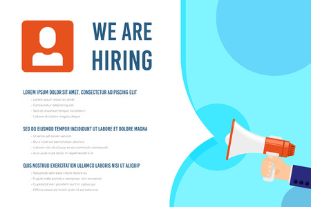 We are hiring infographic template with text sample. Job search, recruiting, human recource concept. Flat style illustration. Banco de Imagens - 121510728