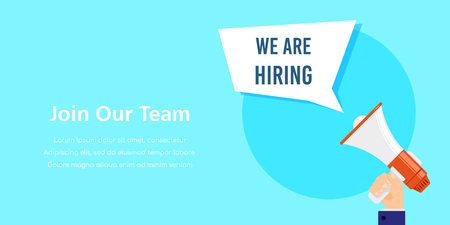 We are hiring. Job search, recruiting, human recource concept. Flat style concept banner. Banco de Imagens - 121510729