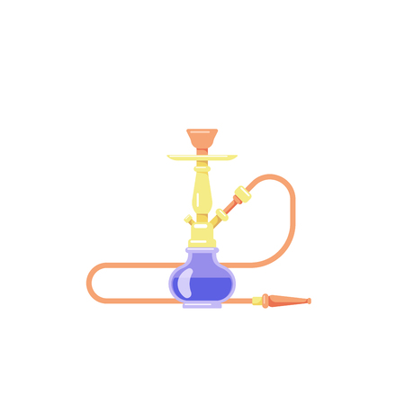 Smoking hookah concept. Flat style Shisha icon isolated on white background. Smoke pipe and relaxation. Banco de Imagens - 121510731
