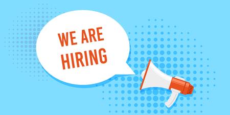 We are hiring. Job search, recruiting, human recource concept. Flat style concept banner. Banco de Imagens - 121510735