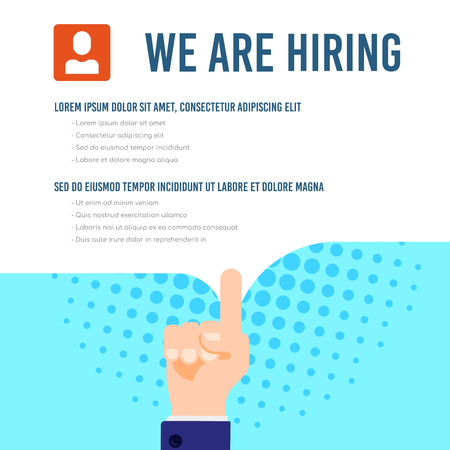 We are hiring infographic template with text sample. Job search, recruiting, human recource concept. Flat style illustration. Banco de Imagens - 121510738