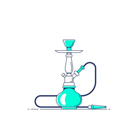Smoking hookah concept. Shisha icon. Smoke pipe and relaxation. Flat style line art illustration