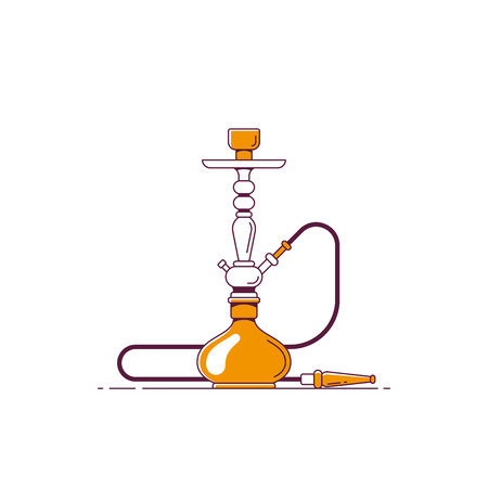Smoking hookah concept. Shisha icon. Smoke pipe and relaxation. Flat style line art illustration Banco de Imagens - 121510743