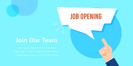 Job opening. Job search, recruiting, human recource concept. Businessman hand pointing on speech bubble with text template. Flat style illustration. Banco de Imagens - 121510746