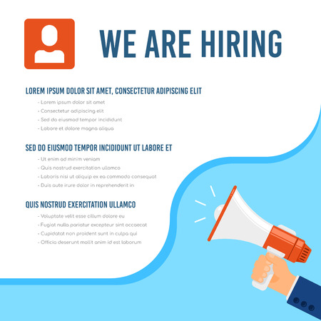 We are hiring infographic template with text sample. Job search, recruiting, human recource concept. Flat style illustration. Illustration