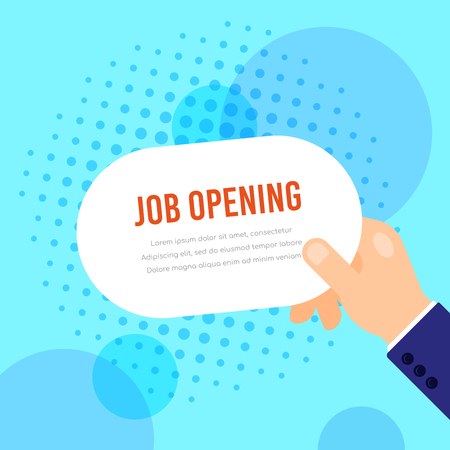 Job opening. Job search, recruiting, human recource concept. Businessman hand holding card with text template. Flat style illustration. Banco de Imagens - 121510753