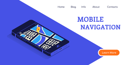 Flat style concept banner for mobile navigation. Smartphone in isometric 3D view with map and pointer on it's screen. Flat style illustration. Banco de Imagens - 122965517