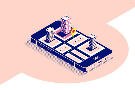 Flat style concept banner for mobile navigation. Smartphone in isometric 3D view with map and pointer on it's screen. Flat style illustration. Banco de Imagens - 122965520
