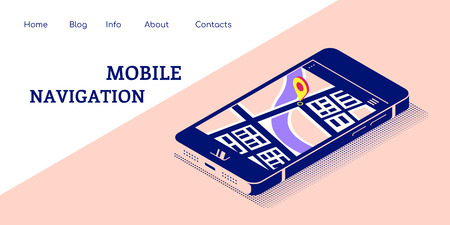 Flat style concept banner for mobile navigation. Smartphone in isometric 3D view with map and pointer on its screen. Flat style illustration.