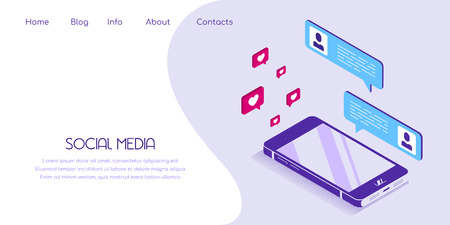Flat style banner for social media concept. Smartphone in isometric view with social media icons. Ilustração