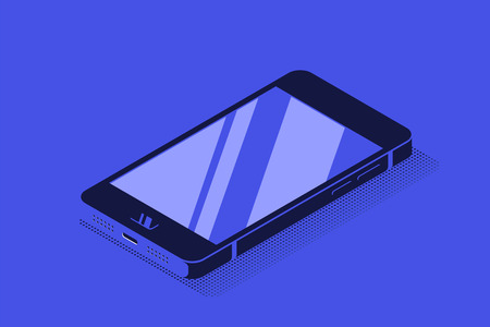 Modern smartphone in isometric 3D view. Flat style illustration.