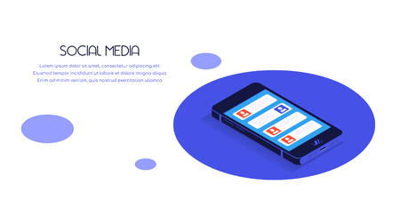 Flat style banner for social media concept. Smartphone in isometric view with social media icons. Banco de Imagens - 122965527