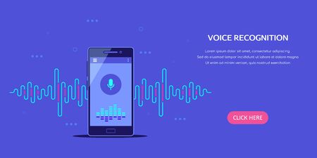 Banner de concepto de sistema de reconocimiento de voz. Smartphone con icono de micrófono y onda de sonido. Ilustración de estilo plano.