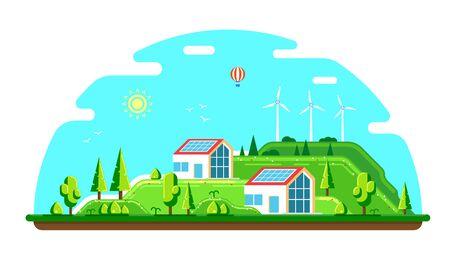 Paisaje de verano con casas ecológicas. Paneles solares y aerogeneradores. Ilustración de estilo plano. Concepto de energía renovable.