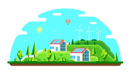 Summer landscape with ecofriendly houses. Solar panels and wind turbines. Flat style illustration. Renewable energy concept. Illustration