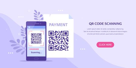 QR code scanning concept banner. Mobile phone with qr code on screen. Flat style illustration. Vektoros illusztráció
