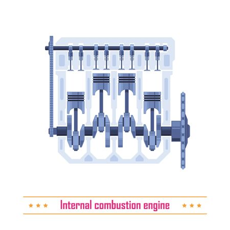 Vehicle internal combustion engine mechanism parts. Car industry engineering