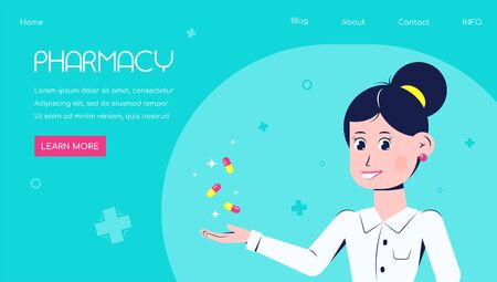 Pharmacy store concept advertisement banner. Woman pharmacist holds medications. Flat style woman character design Иллюстрация